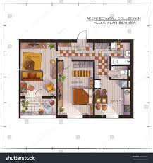 Studio Apartment Floor Plans Architectural Color Floor Plan Studio Apartment Stock Vector