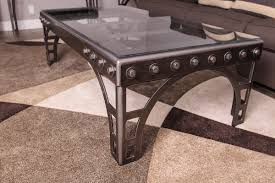 bridge coffee table with glass carr custom design furniture