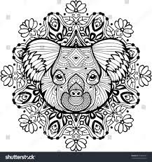 totem coloring page adults head koala stock vector 514678141