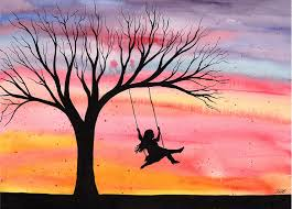 evening joy original watercolor painting by kirsten bailey
