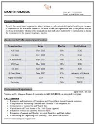 Accountant Resume Samples by Experienced Chartered Accountant Resume Sample Doc 1 Career