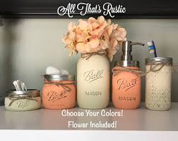 Peach Bathroom Accessories by Rustic Bathroom Decor Mason Jar Bathroom Set Mason Jar