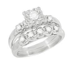White Gold Wedding Ring Sets by Retro Moderne Lucky Clover Diamond Engagement Ring And Wedding