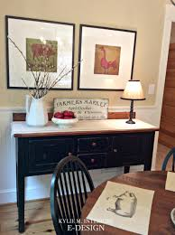 farmhouse country style decor black console buffet with artwork