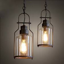 Seeded Glass Pendant Light Fashion Style Rust Pendant Lights Industrial Lighting