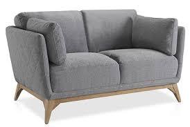 canapé haut de gamme tissu canapé haut de gamme 2 places tissu gris pieds bois noyer luxy