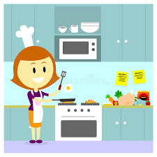 maman cuisine maman faisant cuire dans la cuisine illustration de vecteur