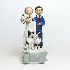 cake topper with dog custom wedding cake topper the small object