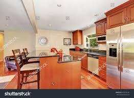 kitchen island stainless wooden kitchen interior kitchen island stainless stock photo