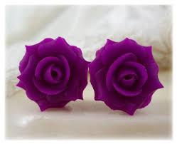 purple stud earrings violet pink stud earrings clip on earrings