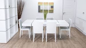 White And Oak Dining Table Large Chunky Modern White Oak Dining Set Glass Legs Seats 6 8