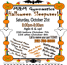 Halloween Slumber Party Ideas by Halloween Sleepover At M U0026 M Gymnastics U0026 Dance Kids Out And