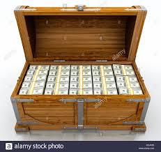 treasure chest full of dollar bills on white background stock