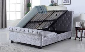 whitford silver crushed velvet double ottoman storage bed only