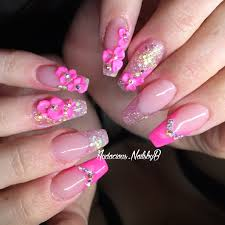 pink french tip 3d flowers swarovski stones coffin acrylic nails