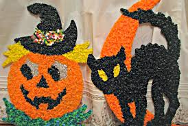 decorations halloween popcorn characters alongside melted