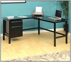 L Shaped Black Glass Desk Desk L Shaped Glass Desk With Drawers L Shaped Black Glass
