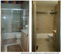 Bath To Shower Small Tiny Bath Remodel Tub To Shower Conversion Frameless
