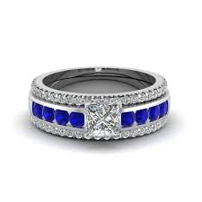 trio wedding sets princess cut diamond channel set engagement ring with blue
