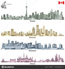 Vancouver Flag Vector Illustrations Of Canadian Cities Toronto Montreal