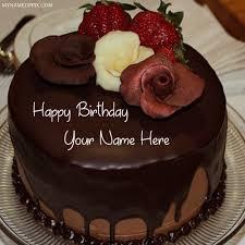 name wishes happy birthday chocolate cake pics
