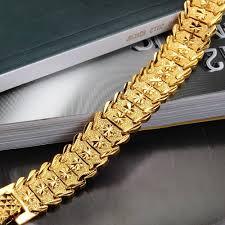 luxury man bracelet images Opk jewelry luxury gold color bracelet bangle wide surface 17mm jpg