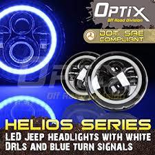 jeep wrangler blue headlights amazon com optix jeep wrangler h6024 7 inch 120w total