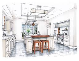 Kitchen Drawings New Beaux Arts Kitchen Rendering Sketches And Interior Sketch