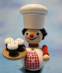 set of 2 steinbach ornaments mini baker pastry chef made in