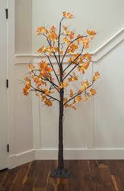 lighted tree yellow orange maple leaves 6 ft warm white