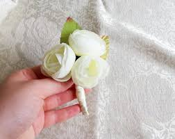 Mint Green Corsage Off White Pale Green Peonies Flower Wedding Boutonniere Custom