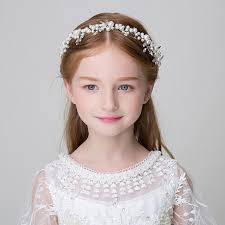 flower girl hair accessories handmade simulated pearl headband flower headpiece hair