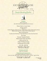 Buffet Menu For Wedding by Wedding Menus Simple Buffet Catering By The Family