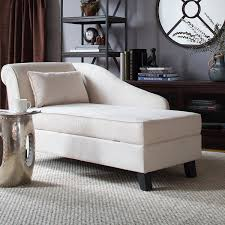 furniture white storage chaise with throw pillow