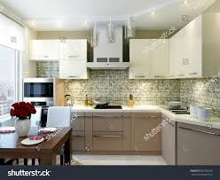 modern elegant luxurious kitchen interior design stock
