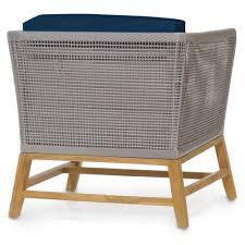 Teak Outdoor Table Serena Modern Grey Woven Teak Outdoor Lounge Chair Navy