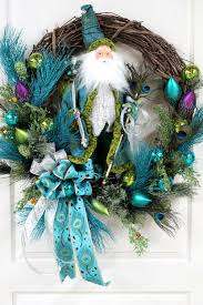elegant santa wizard beautiful peacock feathers teal u0026 lime