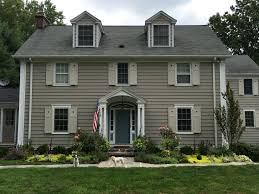 benjamin moore historic colors exterior rockport gray revere pewter shutters and van courtland blue front