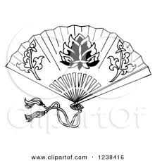 asian fan clipart of a black and white decorative asian fan royalty free