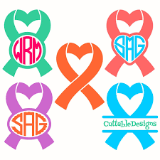 heart ribbon ribbon heart frame svg cuttable frames die cuts for files