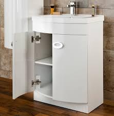 Gloss White Vanity Unit Cassellie D Shaped Gloss White Basin Vanity Unit 600mm