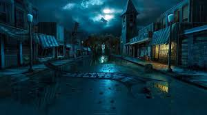 halloween town background night zombies houses terror town drama andreas rocha wallpaper