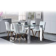 chaise cuir blanc table rectangulaire verre et pied blanc pas cher pour salle a manger