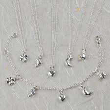 silver child charm bracelet images Silver girl 39 s dolphin heart star or flower necklace by tales jpg