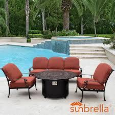 Patio Furniture Conversation Set - villa flora 4 piece cast aluminum fire pit outdoor conversation