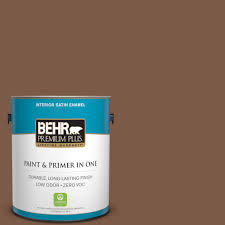 behr premium plus ultra 1 gal 710d 4 harvest brown satin enamel