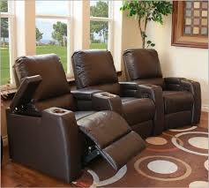 magnolia home theater seating in brown top grain leather and