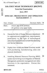 productivity and operation management 2012 june engineering