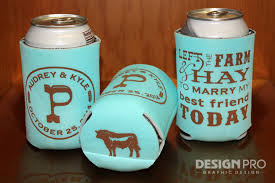 wedding can koozies left the farm hay country wedding can cooler bottom