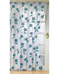 White And Teal Curtains Sicily Ready Made Voile Panel New Net Curtain Slot Top White